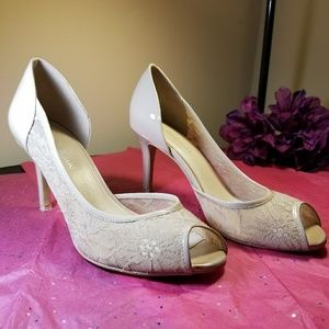 Kelly & Katie peep toe d'orsay tan heels